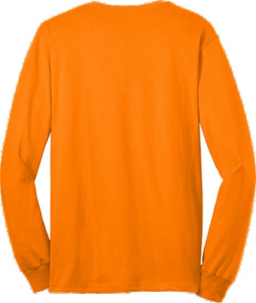 Safety Orange Pocket Long Sleeve T Shirt Back