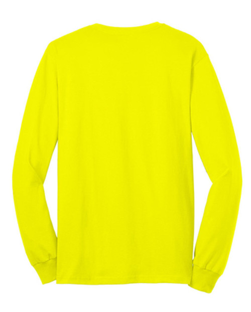 Safety Green Long Sleeve T Shirt Back