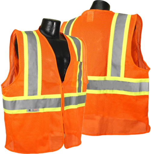Radians SV22-2 Economy Type R Class 2 Safety Vest with Two-Tone Trim Safety Orange Vest with Safety Safety Green Trim