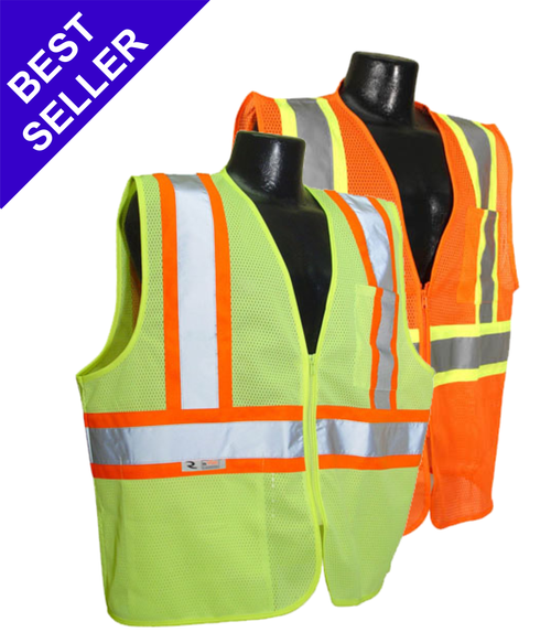SV22-2 Safety Vest Class 2 Two Tone Safety Green - Safety Orange