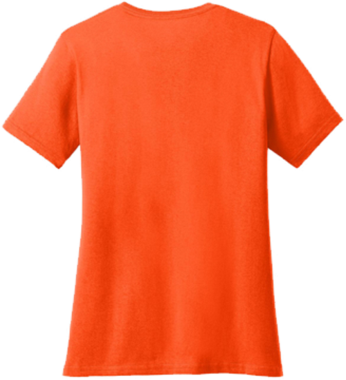Ladies Safety Orange Short Sleeve T-Shirt - 50/50 Cotton/Poly (Preshrunk) *Custom Printing Available*