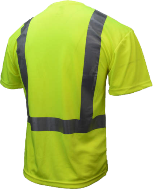Class 2 High Visibility Safety T-Shirt with Max-Dri™ | Safety Green Hi Vis TShirt with Pocket | Polyester Hi Vis Class 2 Tee  | Reflective Safety Shirt