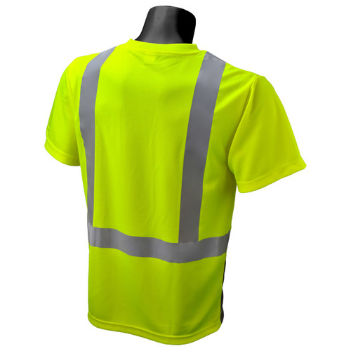 safety t-shirt with reflective stripes  | Safety Green Shirt with Pocket | Safety Yellow Pocket Tee | Class 2 High Visibility T-Shirt