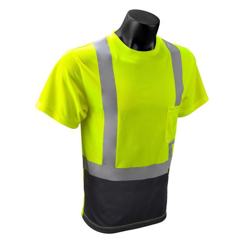 Hi Vis Class 2 T Shirt   Black Bottom Safety Green T Shirt with Pocket Class II    Polyester Pocket Tee    Safety Green and Black Safety T Shirt with Pocket