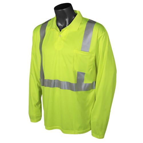 Class 2 Hi Vis Safety Green Long Sleeve Polo Shirt