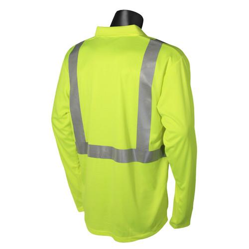 Safety Green Max Dri ANSI Class 2 Polo Shirt Long Sleeve