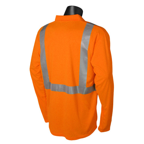 Safety Orange Max Dri ANSI Class 2 Polo Shirt Long Sleeve