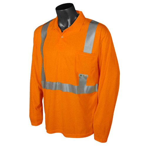 Class 2 Hi Vis Safety Orange Long Sleeve Polo Shirt
