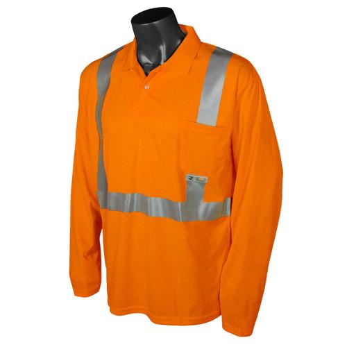 Class 2 Hi Vis Safety Orange Long Sleeve Polo Shirt