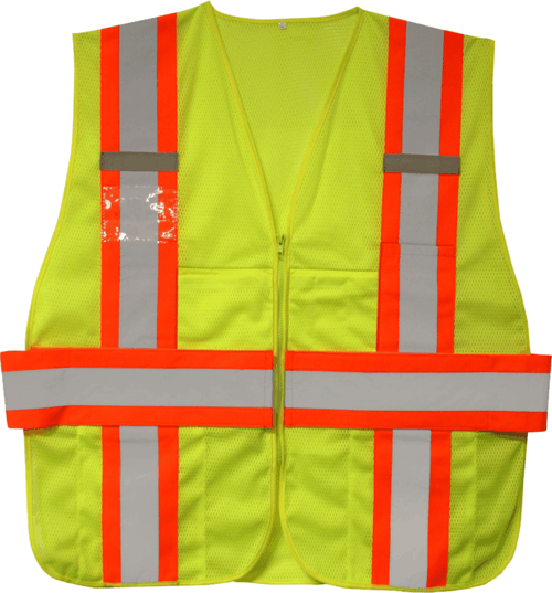 Two Tone Class 2 Safety Vest - Expandable  Safety Green