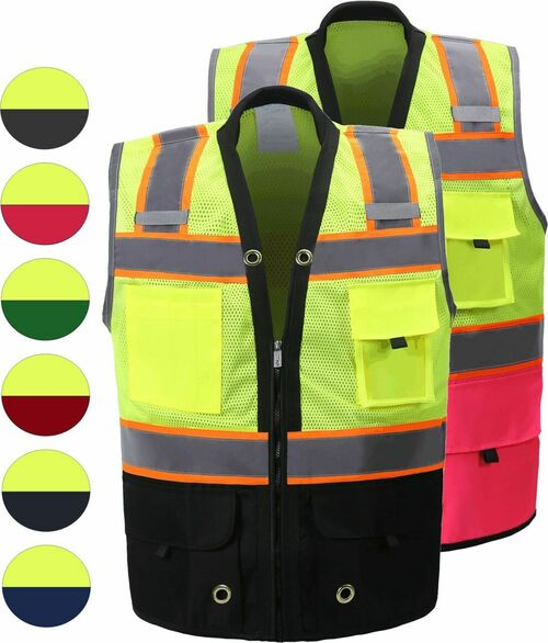 Two Tone Class 2 Premium Surveyors Safety Vest with Solid Bottom | clear badge id pocket