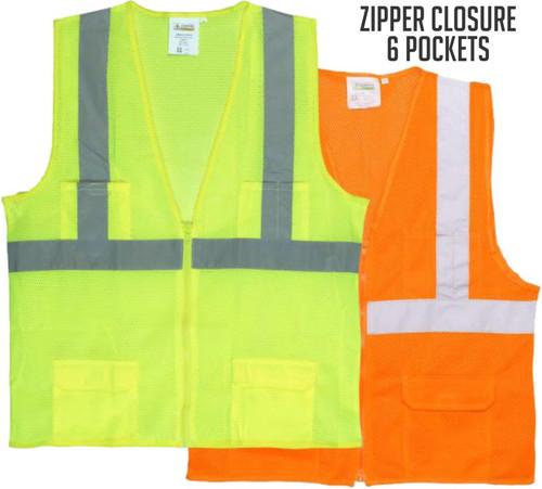 Safety Surveyors Vest 6 Pockets Safety Green / Safety Orange.