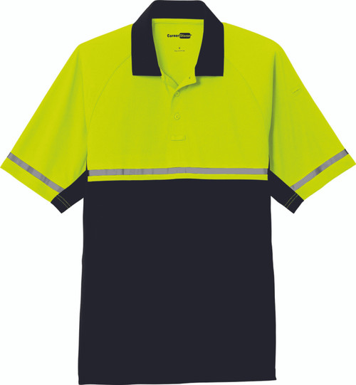 2-tone Safety Yellow with Black Bottom Polo with Reflective Stripe Front