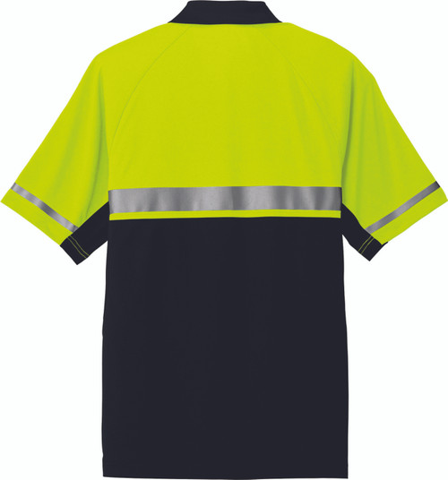Safety Polo with 2 color safety yellow and black.  Reflective striping on sleeves and torso