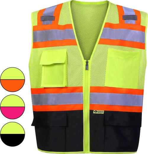 Safety Vest | Black Bottom Safety Vest with contrast color Class 2 | Class Two Safety Vest