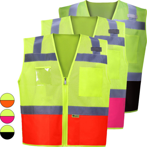 Two Tone Contrast Safety Vest   ANSI Approved Class 2 Safety Vest with Pockets.