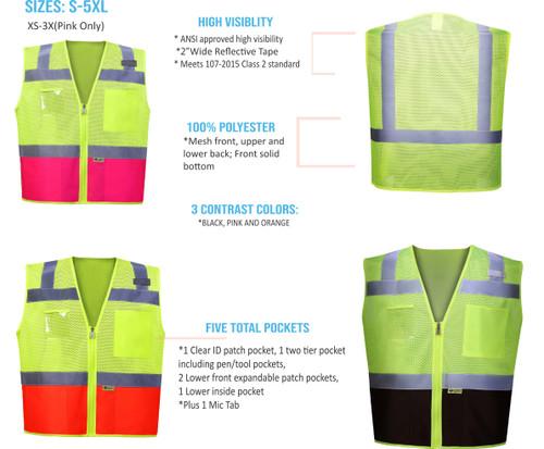 High Visibility 2 Tone Contrast Safety Vest | Class 2 Safety Vest with Clear ID Pocket | Zipper front Class 2 ANSI Surveyors Safety Vest