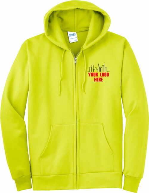 Safety Green Zipper Hoodie with Logo