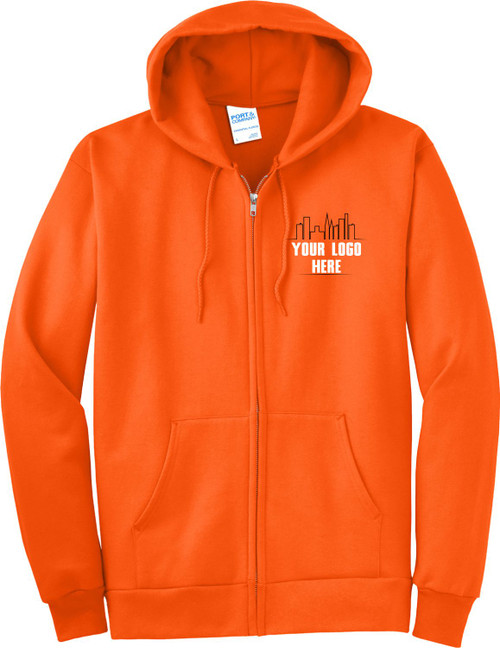 Safety Orange Zipper Hoodie with Logo.  Make your logo stand out on our Bright Orange Zipup Hooded Sweatshirts.