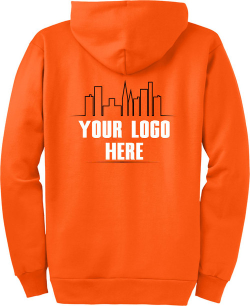 Safety Orange High Visibility Hooded Sweatshirt with Printed Logo.  Ask about our Custom Printed Safety Green Zipup Hoodies.