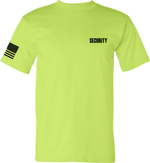 USA made and Printed Security Lime Green T Shirt with Flag on Right Sleeve