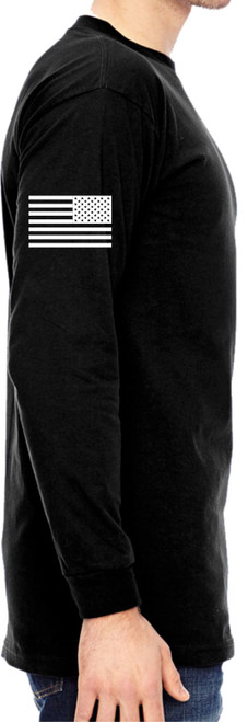 USA Made Black Security Long Sleeve Tee with American Flag on right sleeve