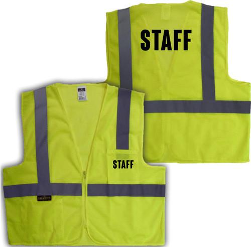 Printed STAFF Safety Vest Class 2 - Great Hi Vis Vest for Events   Reflective Safety Vest Staff