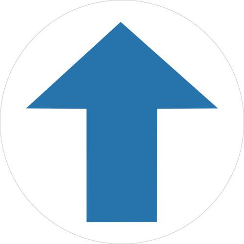 One way arrow yellow warning Social Distancing Self Adhesive Floor Sign round