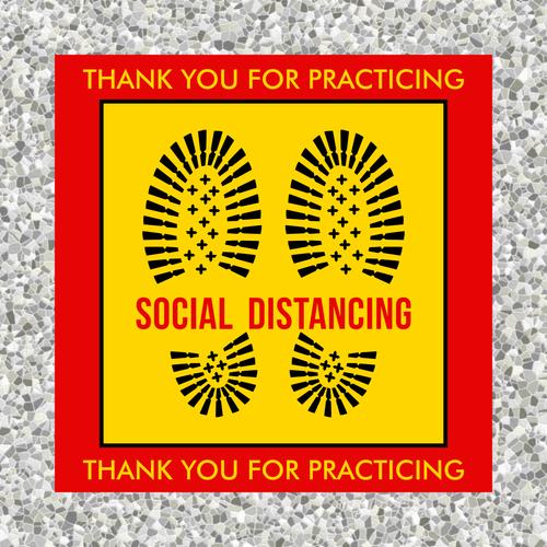 Safe Distance Social Distancing Floor Sticker | Please stay 6 ft apart floor sticker | Coronavirus Pandemic Sticker