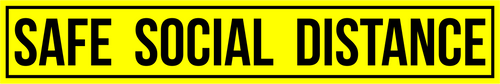 "Yellow 3""x18"" Safe Distance Social Distancing Floor Sticker  