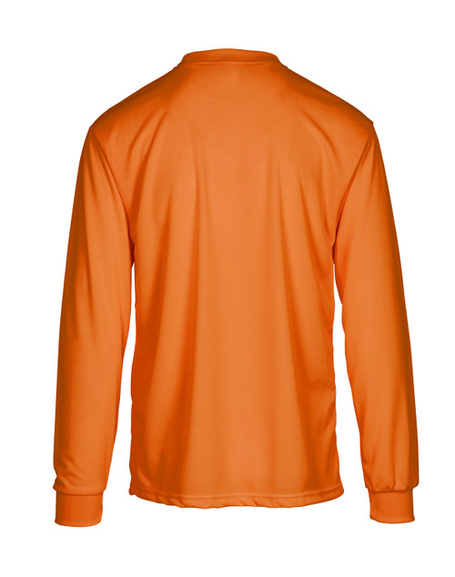 Safety Orange Hi-Viz Moisture Wicking Long Sleeve T-shirt with Pocket