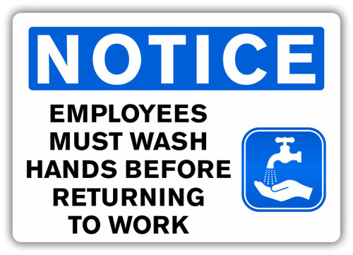 NOTICE Employees must wash hands before returning to work Sign | Wash Hands Signage | Employees must wash hands Decal