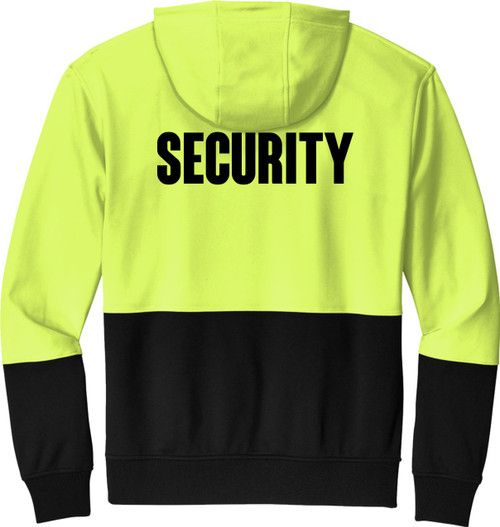 Security Hoodie Safety Yellow and Black | Black Bottom Security Hoodie