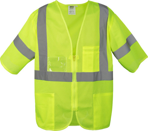 Safety Green Safety Vest with Zipper Closure