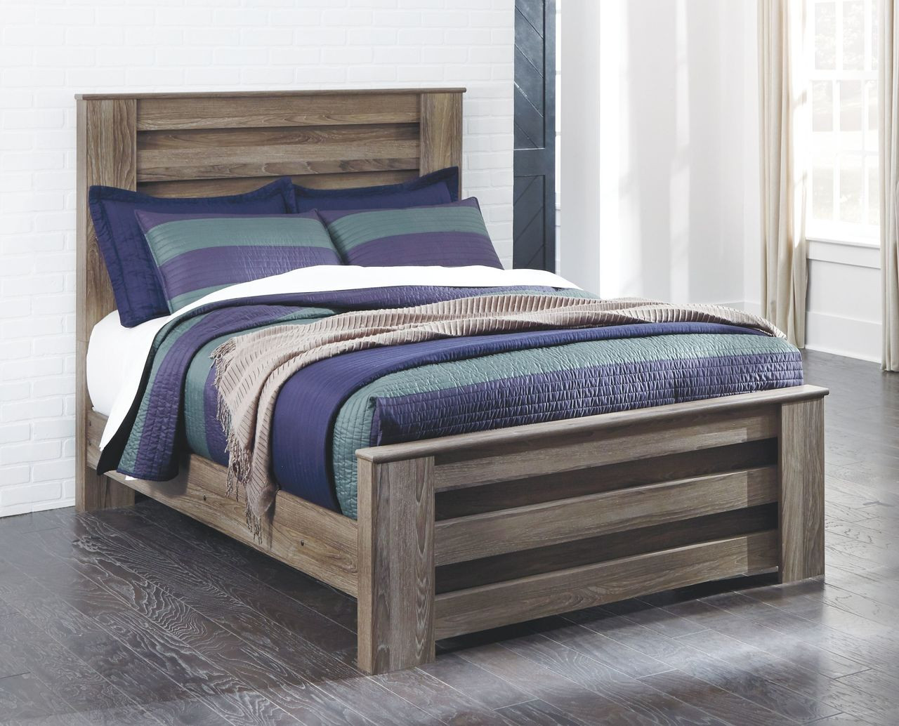 The Zelen Warm Gray Full Panel Bed Available At 5 Star Furniture Serving Dallas Tx And Garland