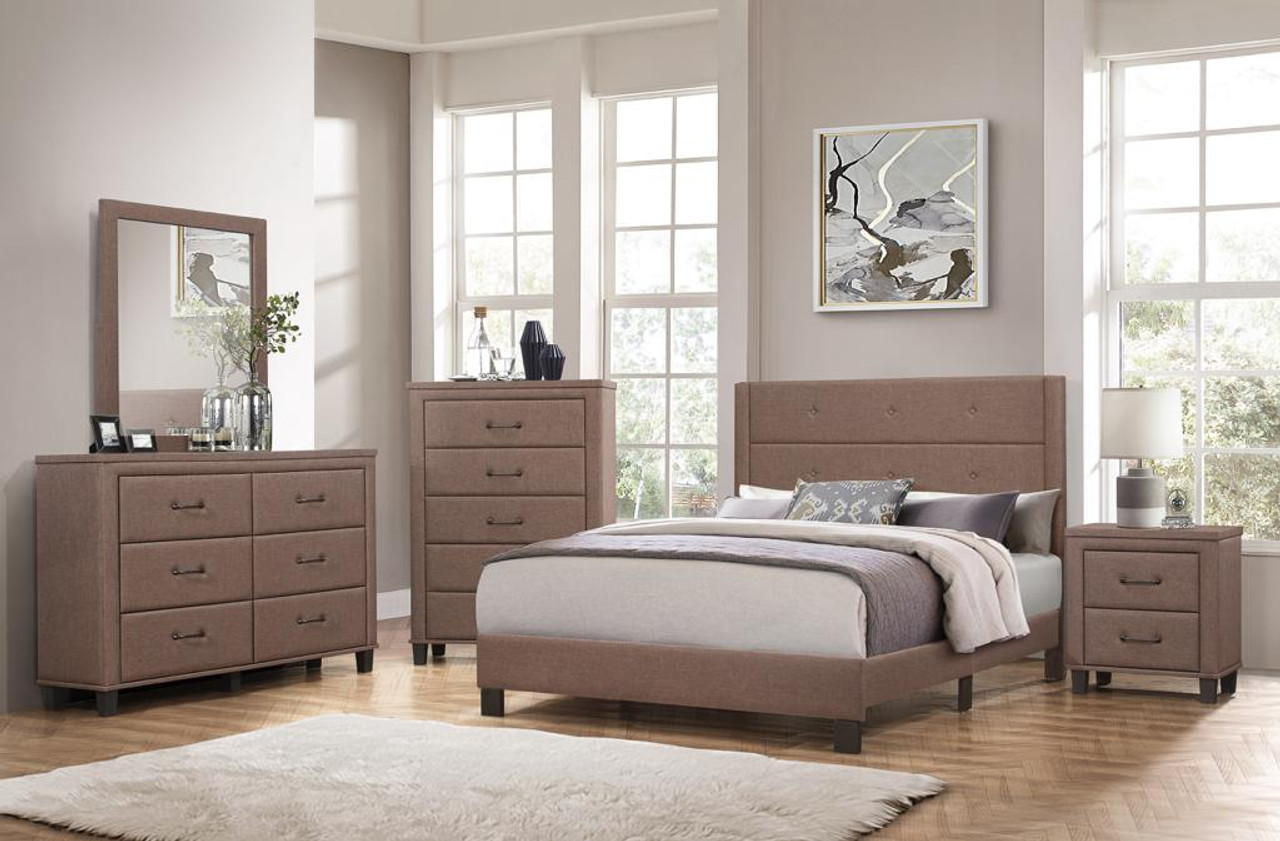 Brown Fabric 5 Pc Queen Bedroom Set 5 Star Furniture Dallas