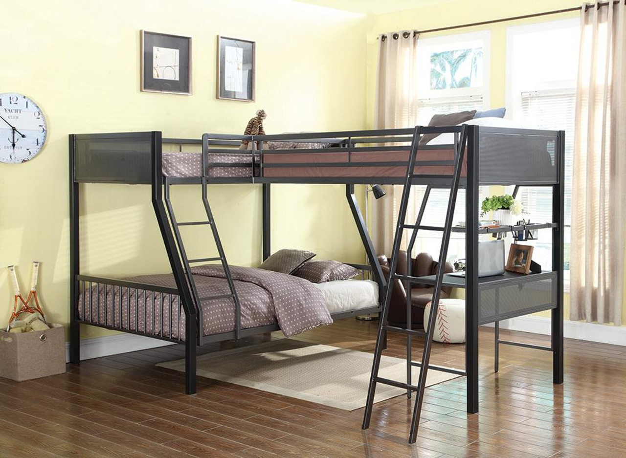 The Meyers Bunk Bed Meyers Twin Over Full Metal Bunk Bed Black And Gunmetal 460391 Available At 5 Star Furniture Serving Dallas Tx And Garland Tx