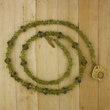 Bamboo View - Peridot and Czech Glass Necklace on Gold Plate (1345)