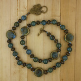 Bamboo View - Hand-Knotted Raku and Antique Gold Necklace on Leather (1332)