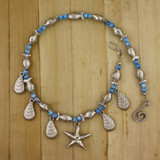 Bamboo View -  Blue Agate Low Tide Bonanza Necklace on Silver Plate (0192)