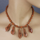 Mannequin View - Goldstone Tube Flowers and Red Aventurine on Copper Choker Necklace (16 inches) (0840)