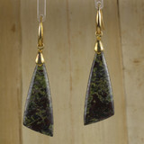 Bamboo Center View - Earrings - Dragon's Blood Jasper Wedge on Gold Plate Ear-wires (1046)