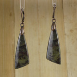 Bamboo Center View - Dragon's Blood Jasper Wedge on Antique Copper Ear-wires (0857)