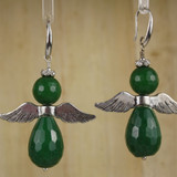 Bamboo Center View - Earrings - Zoisite Angels on Silver Plate Earwires (1323)