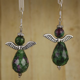 Bamboo Center View - Earrings - Ruby in Zoisite Angels on Silver Plate (0081)