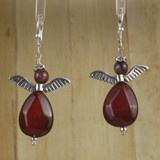 Bamboo Center View - Red Tourmaline Angels on Silver Plate Earwires (0033)