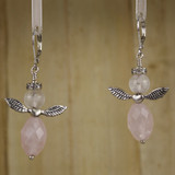Bamboo Center View - Rose Quartz Angels on Silver Plate Earwires (0091)