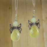 Bamboo Center View - Chrysoprase Angels on Sterling Silver Earwires (1327)