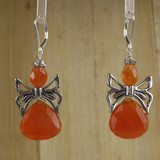 Bamboo Center View - Carnelian Angels on Silver Plate Earwires (1328)