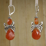 Bamboo Left View - Carnelian Angels on Silver Plate Earwires (1328)